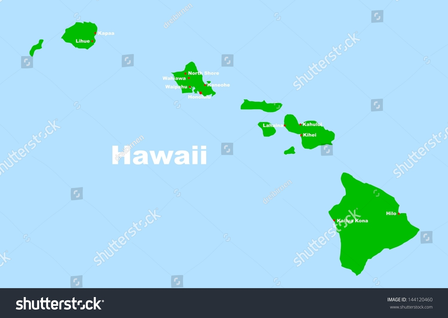Hawaii map vector bnhspine map of hawaii stock vector illustration 144120460 gumiabroncs Images