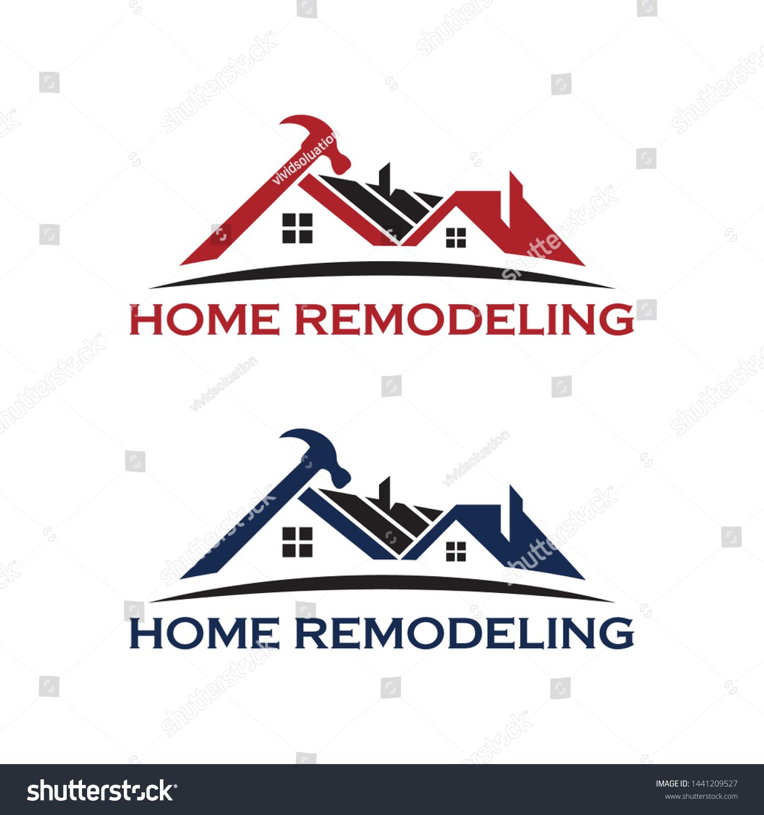 Home Repair Remodeling Logo House Maintenance Stock Vector