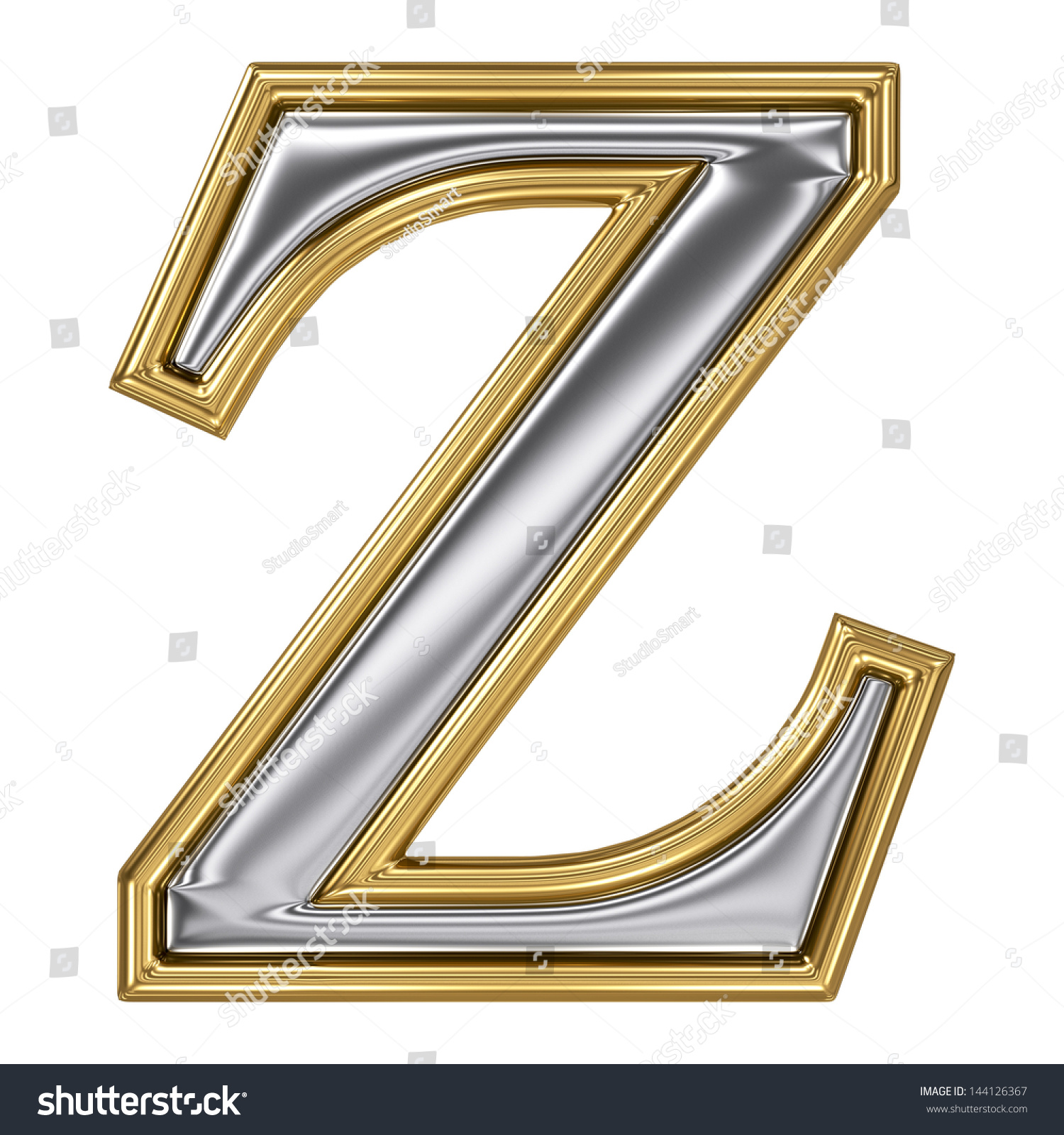 Metal Silver Gold Alphabet Letter Symbol Stock Illustration