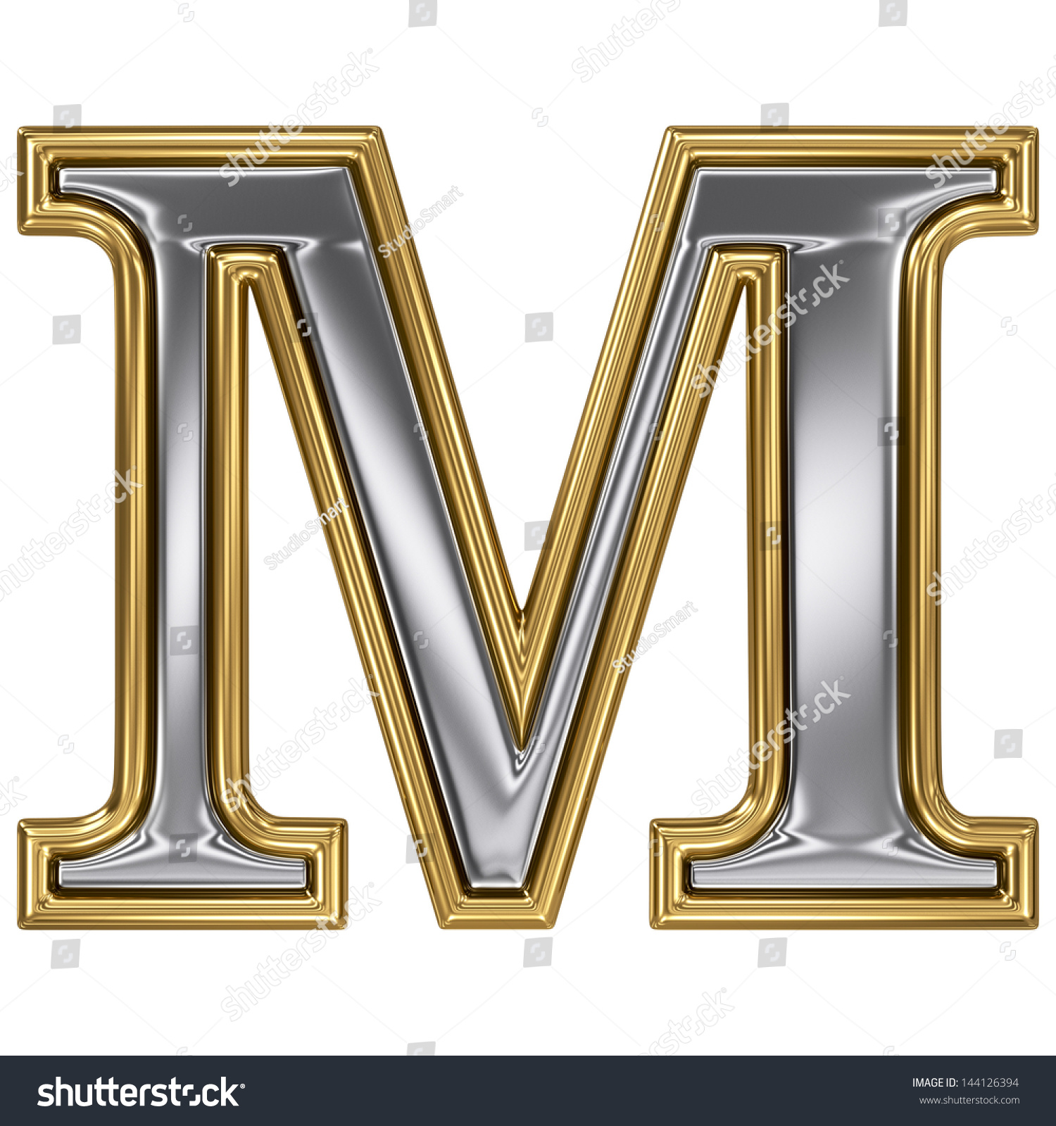 metal silver and gold alphabet letter symbol m
