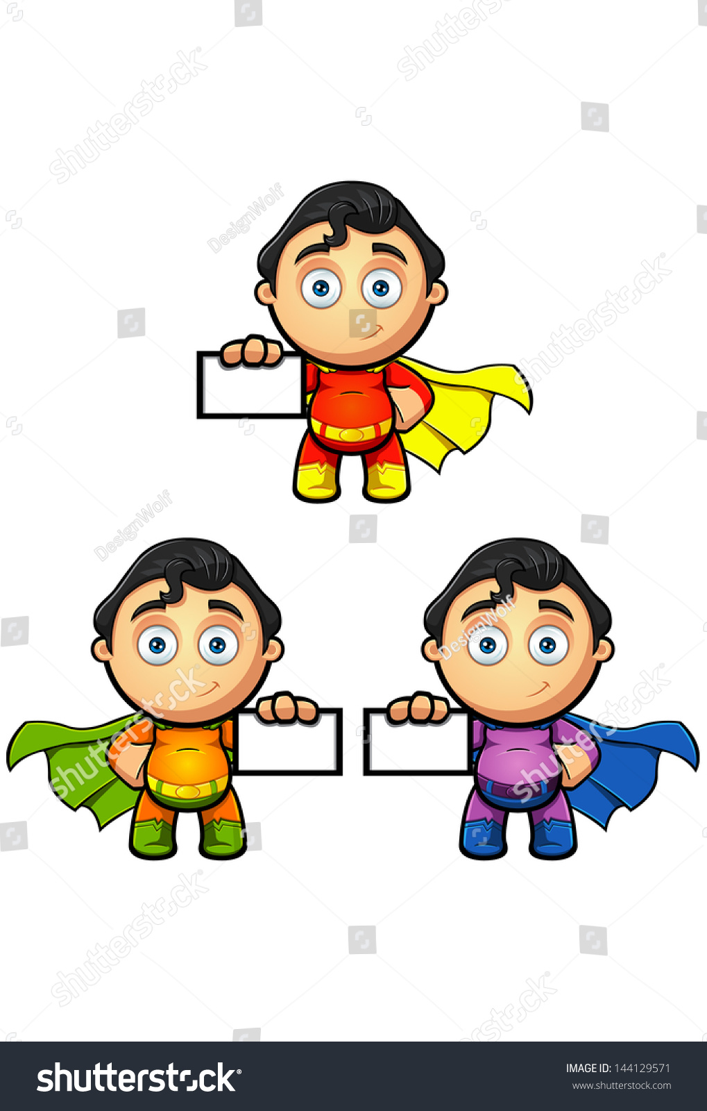 Superhero Character Holding Business Card Stock Vector 144129571 ...