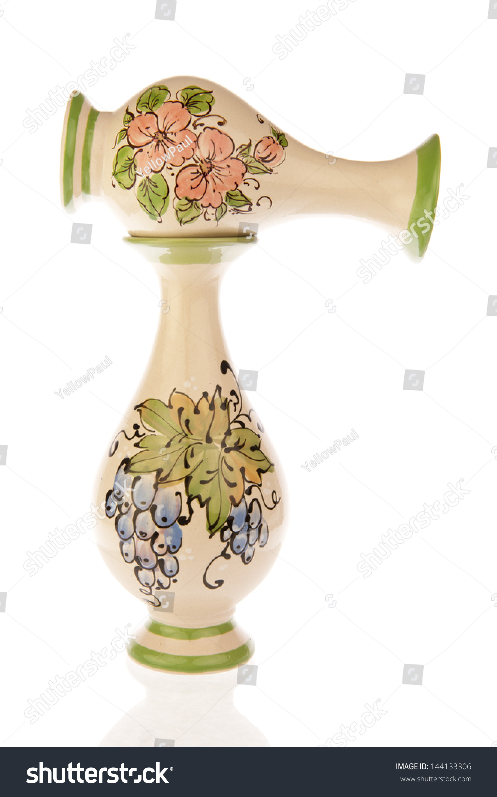 Two Decorated Vases Pink Flowers Green Stock Photo