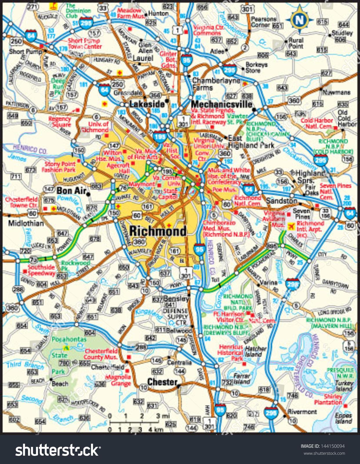Richmond Virginia Area Map Stock Vector (Royalty Free) 144150094 ...