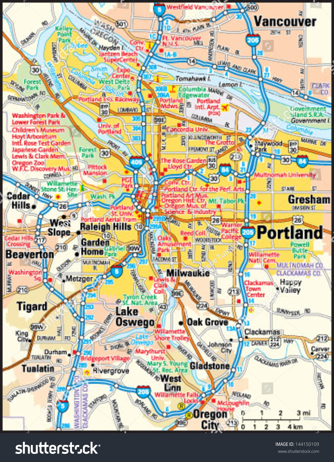 portland oregon area map Portland Oregon Area Map Stock Vector Royalty Free 144150109 portland oregon area map
