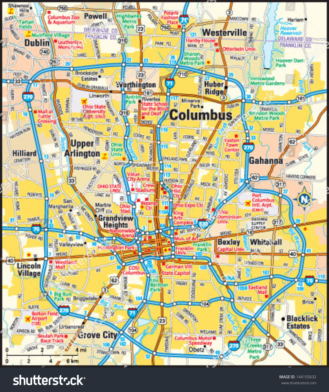 Columbus Ohio Area Map Stock Vector Royalty Free 144155632
