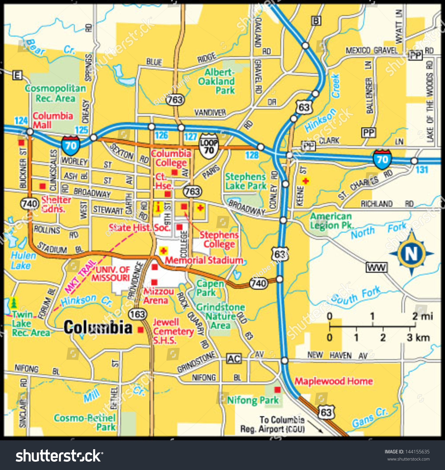Columbia Missouri Area Map Stock Vector 144155635 Shutterstock
