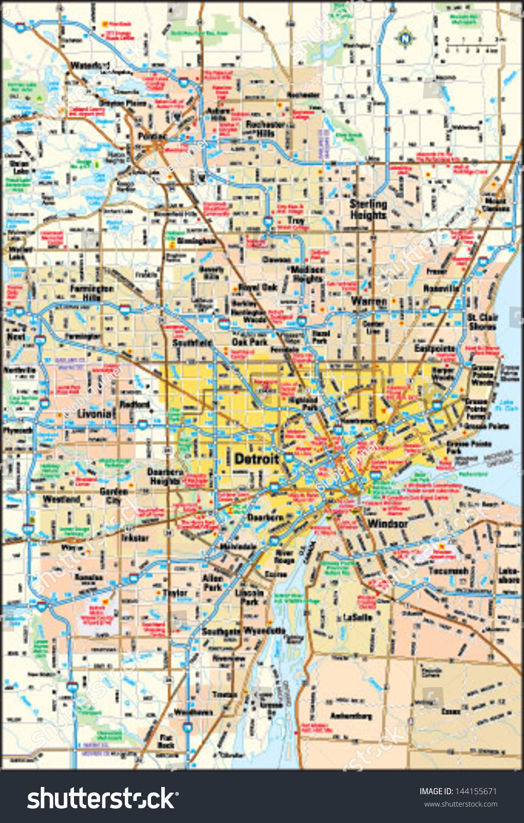 Detroit, Michigan area map | EZ Canvas