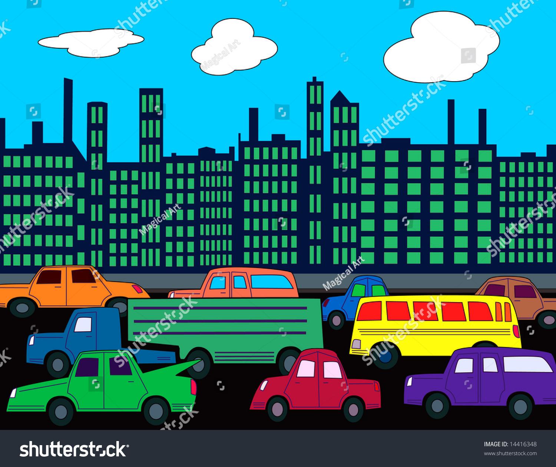 Busy City Street Cars Traffic Stock Illustration 14416348