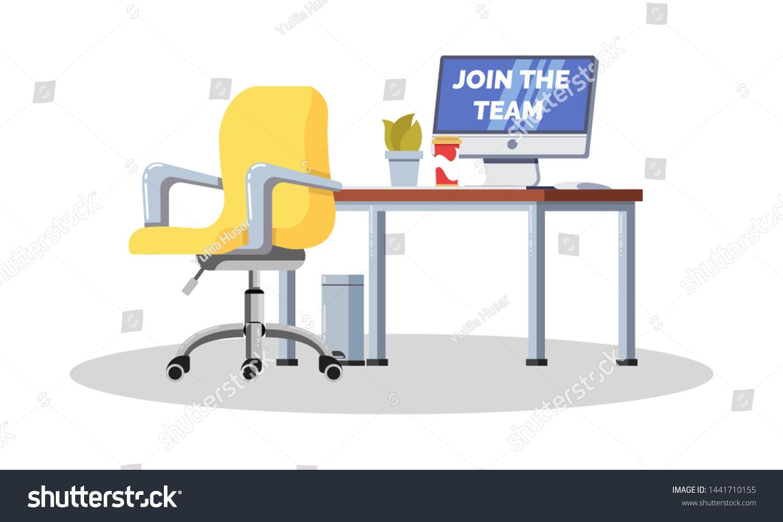 Vector De Stock Libre De Regalias Sobre Workplace Office Desk Empty Chair Computer1441710155
