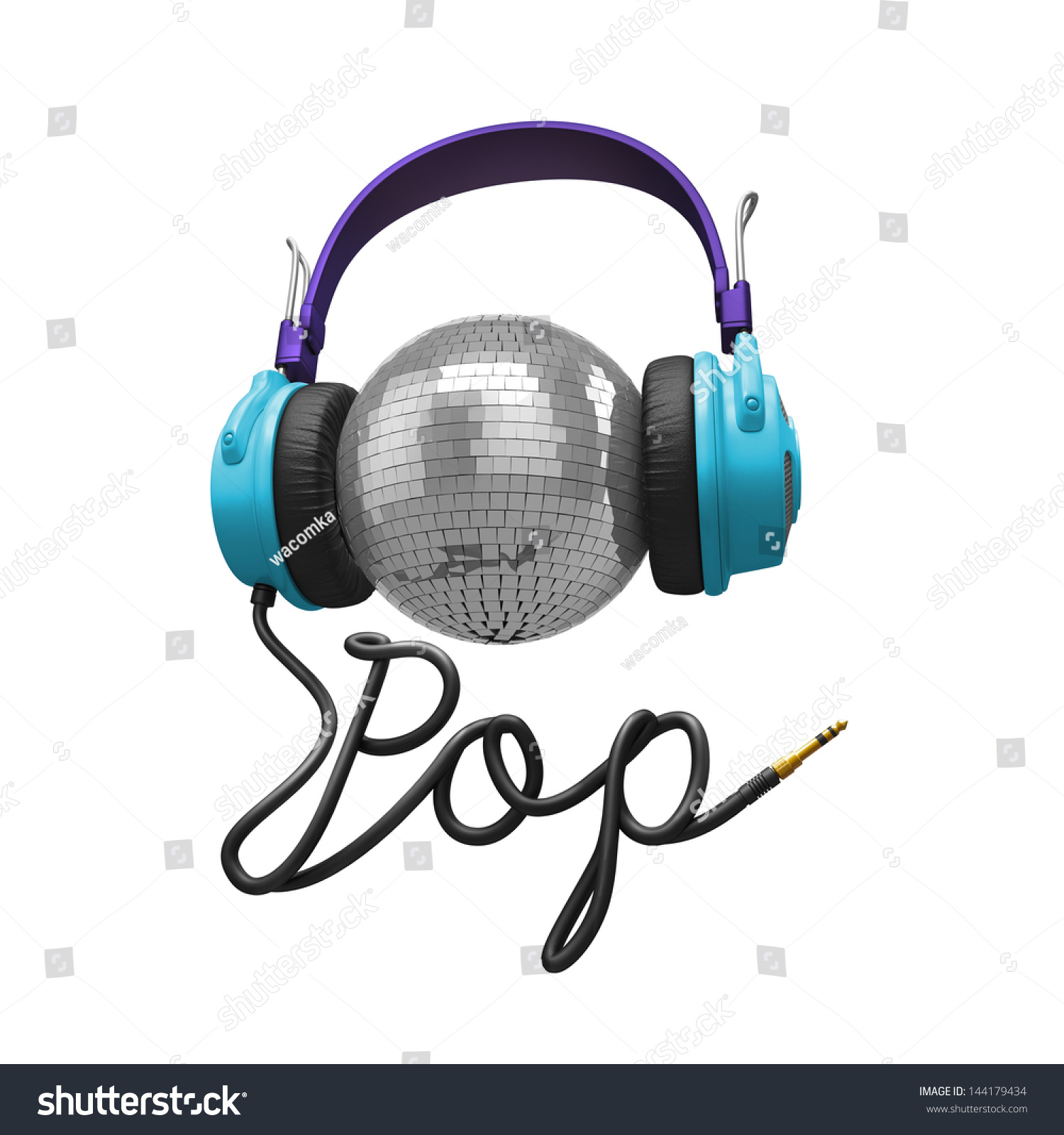 ... Clip Art 3d pop music concept isolated on white; headphones, disco