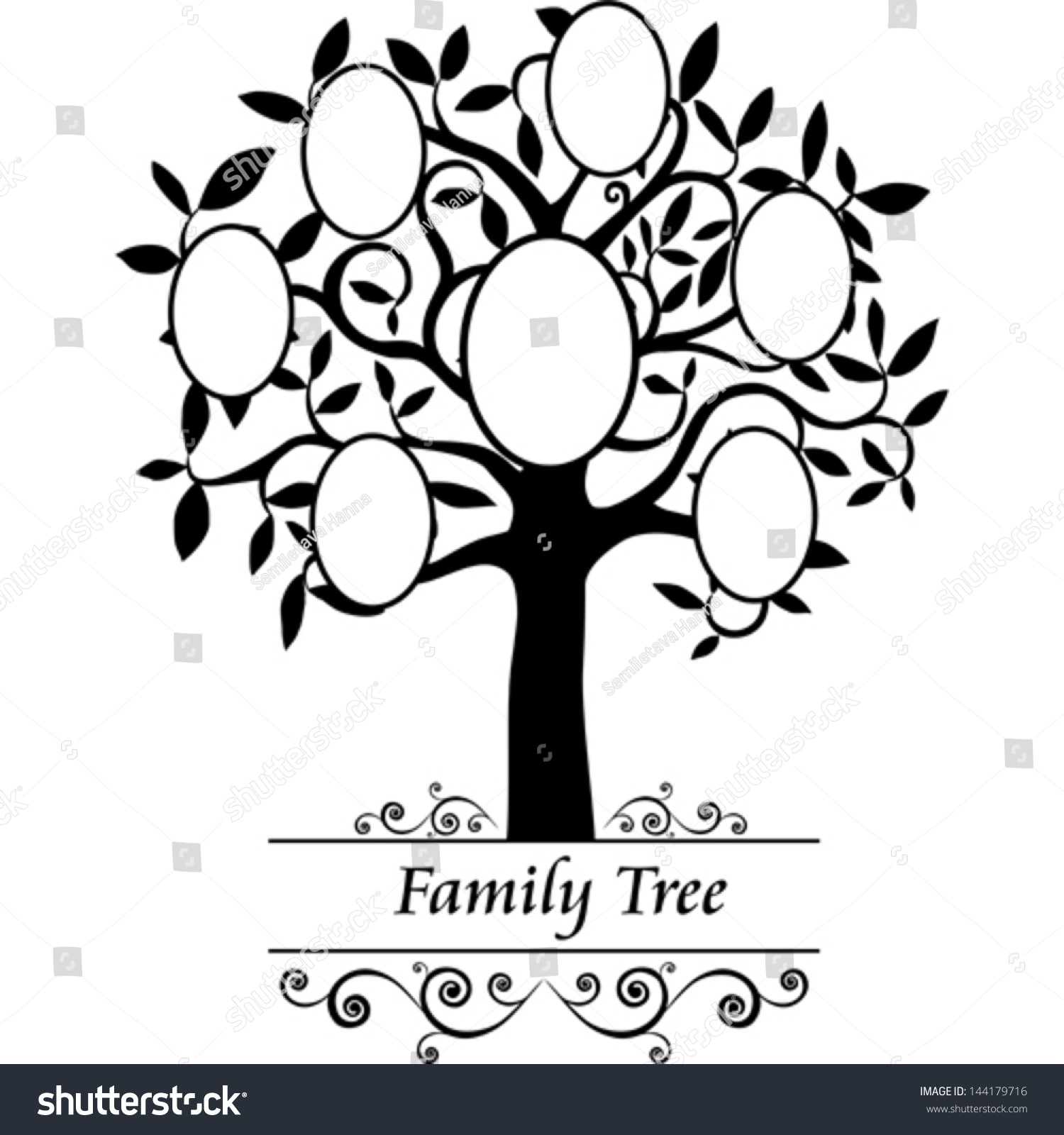 Family tree frames empty your input stock vector 144179716 for Picture of family tree template