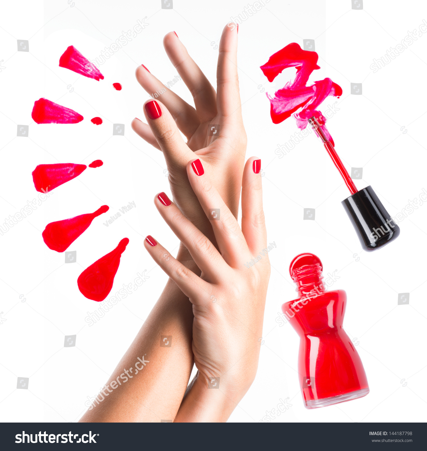 Nail Polish Colors For Younger Looking Hands: Beautiful Female Hands Red Manicure Nail Stock Photo