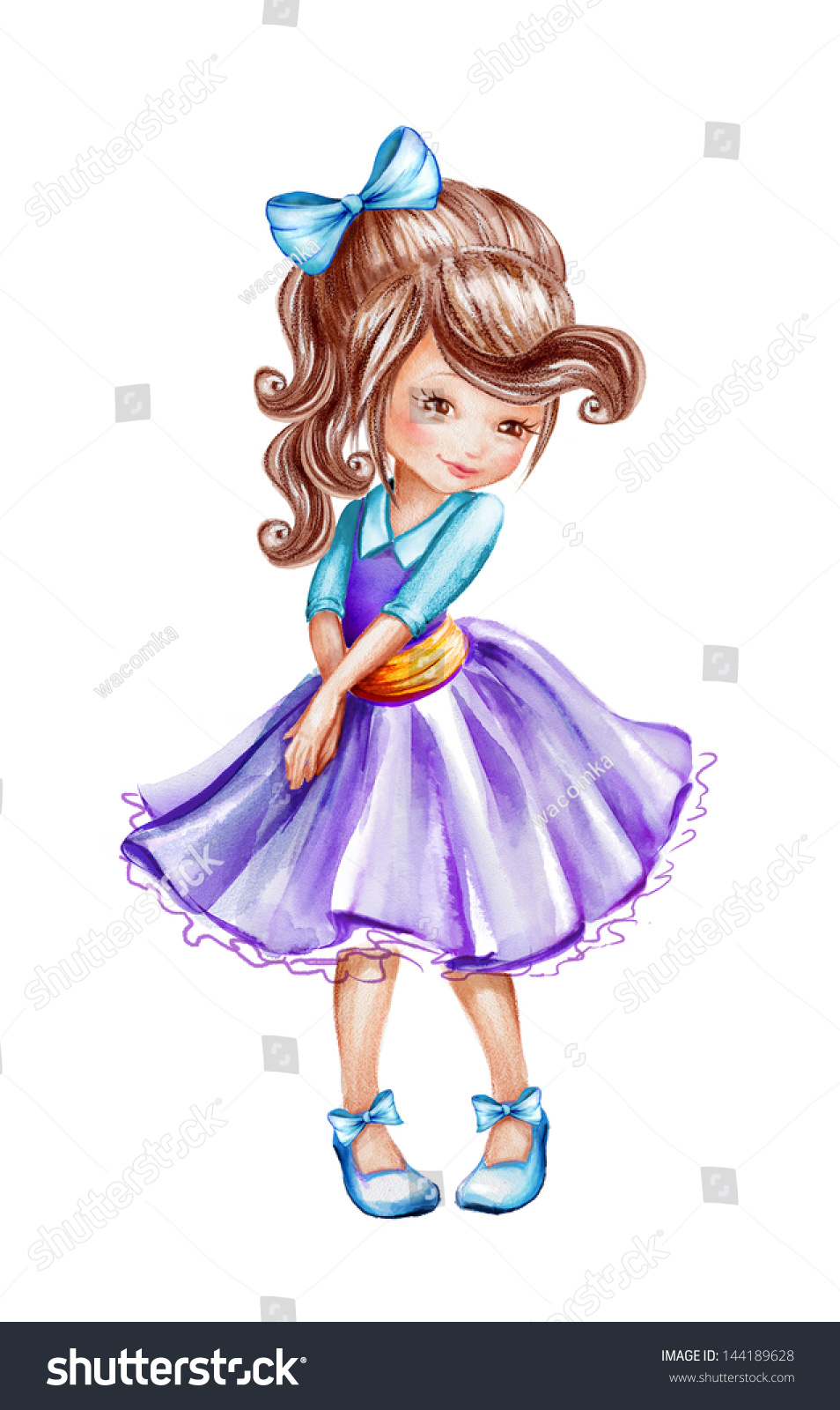 Cute Beautiful Shy Little Girl Watercolor Stock