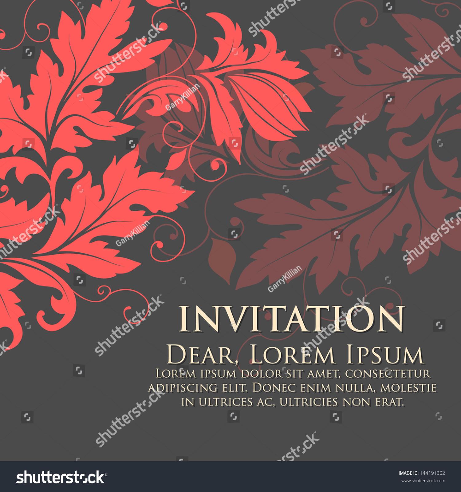 Invitation Wedding Card Flower Background Elegant Stock Vector ...