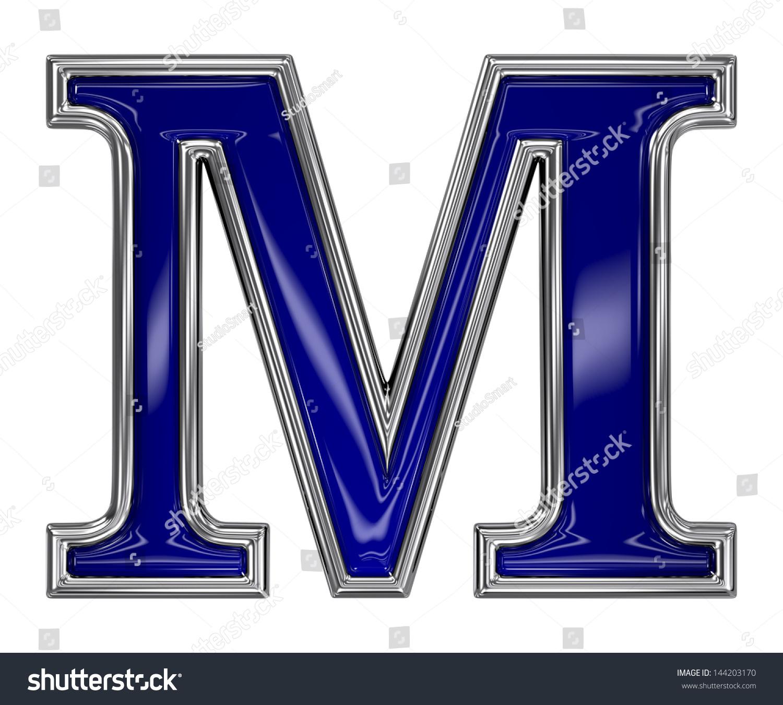 Metal Silver Blue Alphabet Letter Symbol Stock Illustration