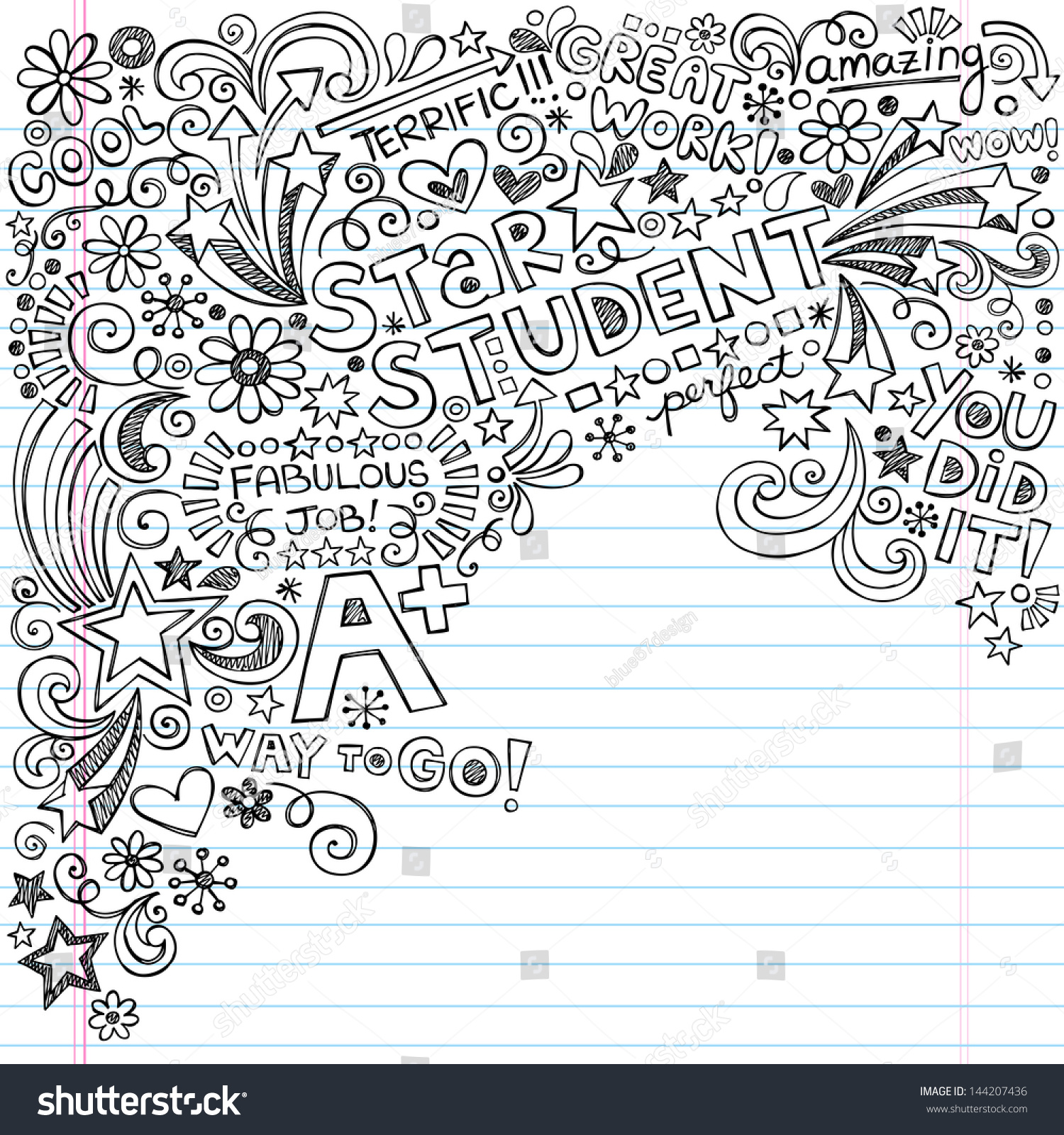straight star student scribble inky doodles stock vector 144207436