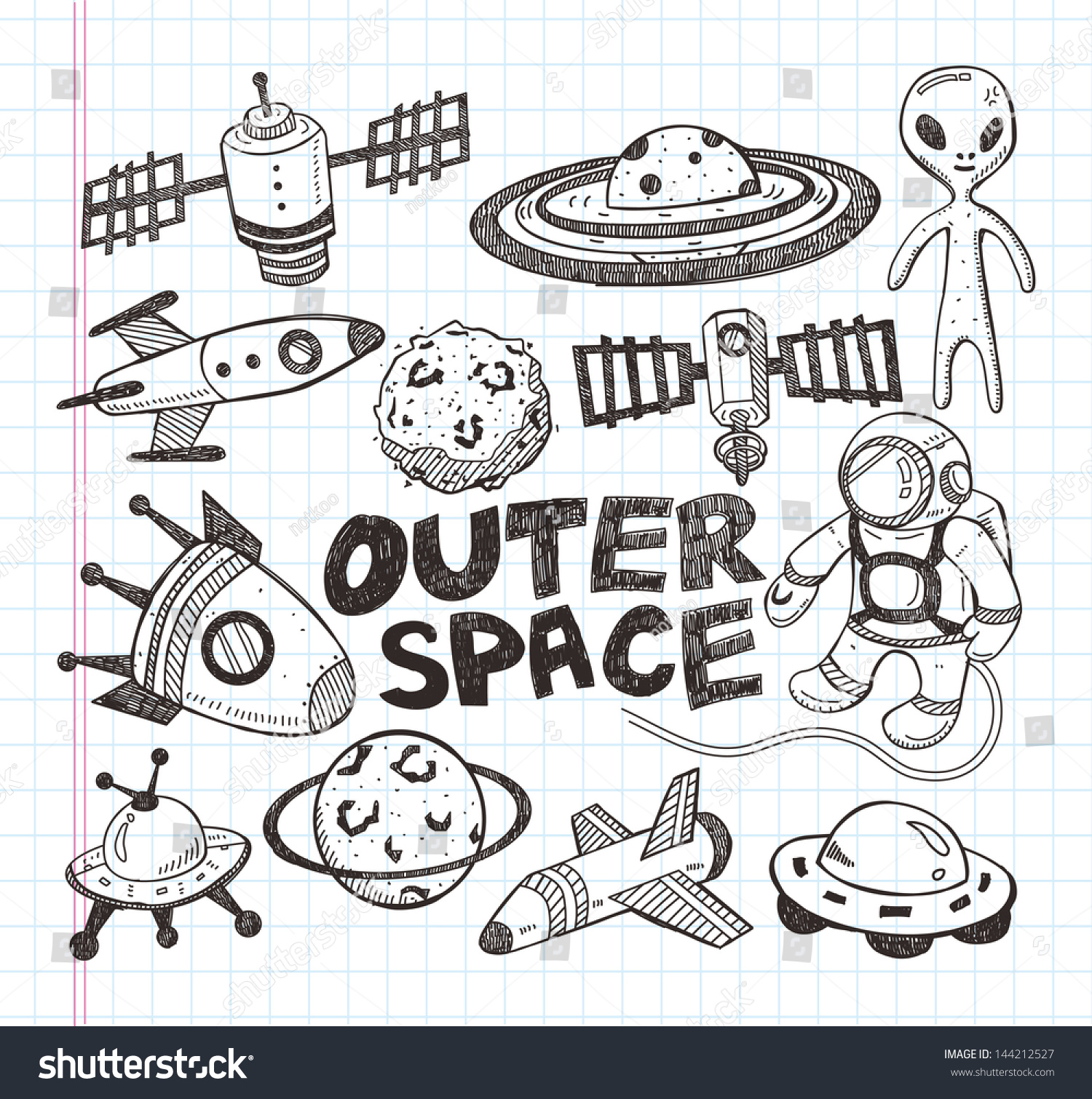Line Art Doodles : Doodle space element icons illustrator line stock vector