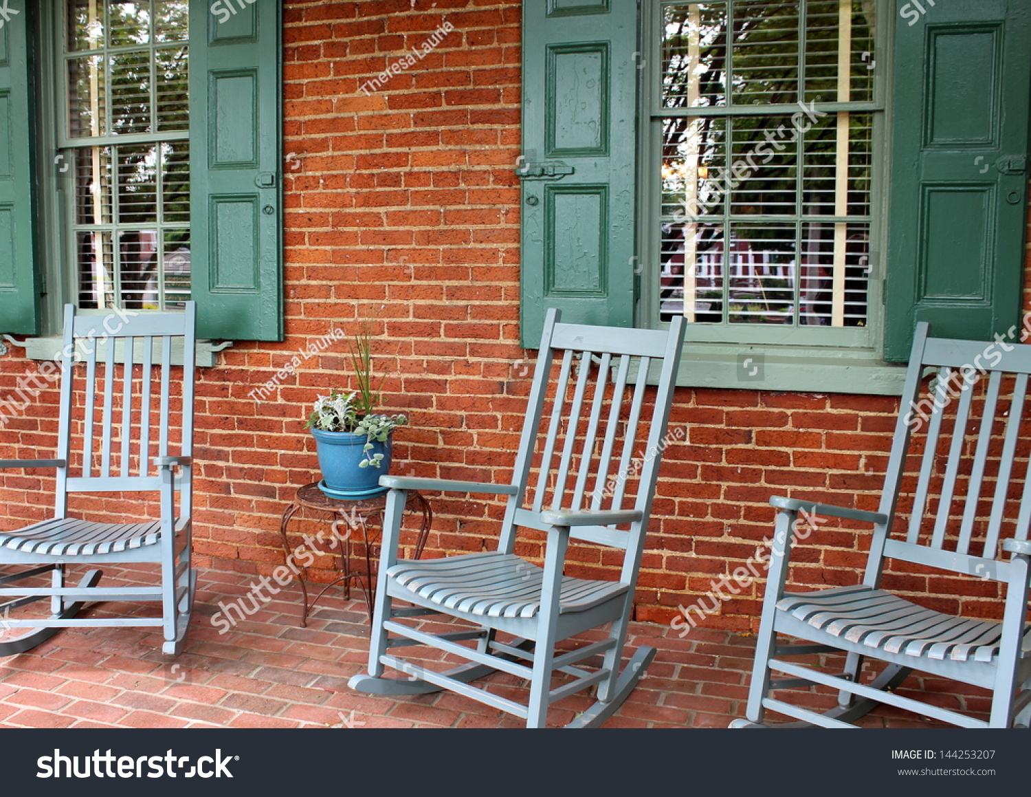 Inviting Front Porch Brick Wall Floor Stock Photo Edit Now