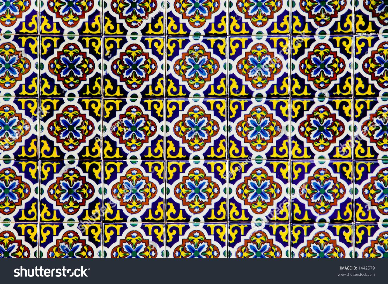 Traditional Spanish Ceramic Tile Pattern Stock Photo