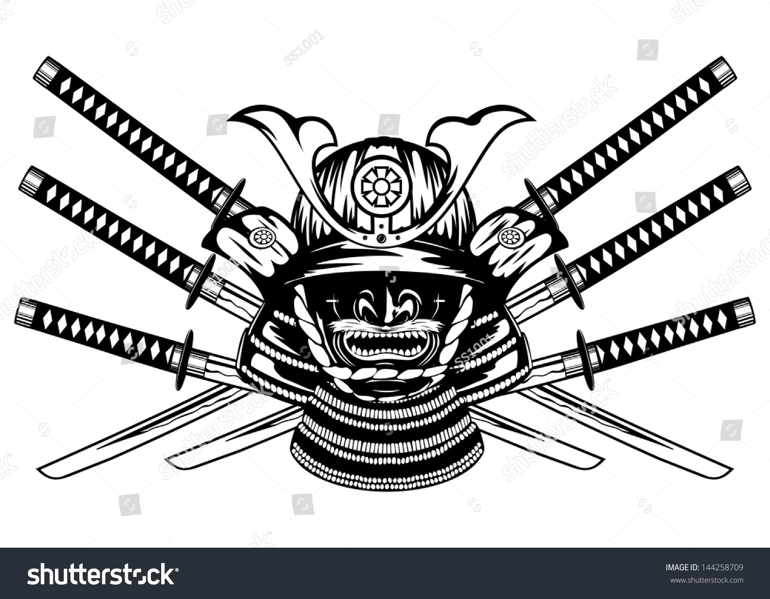 Vector illustration samurai helmet menpo with yodare kake crossed katanas