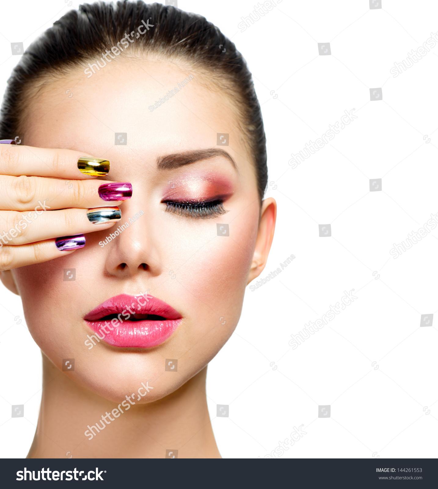 Fashion Beauty Manicure And Make Up Nail Art Beautiful