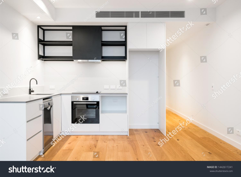Modern Apartment Kitchen Design Stone Bench Stock Photo Edit Now 1442617241