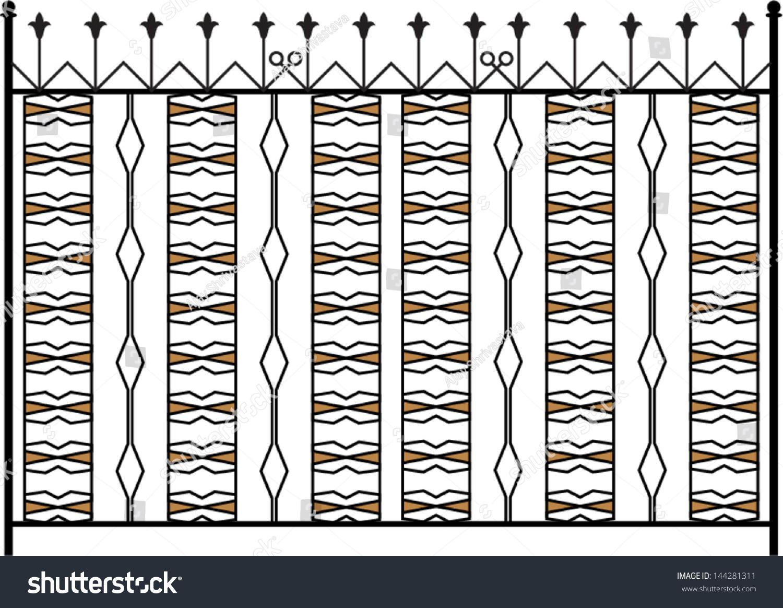 Wrought iron gate door fence window stock vector 144281311 for Window gate design