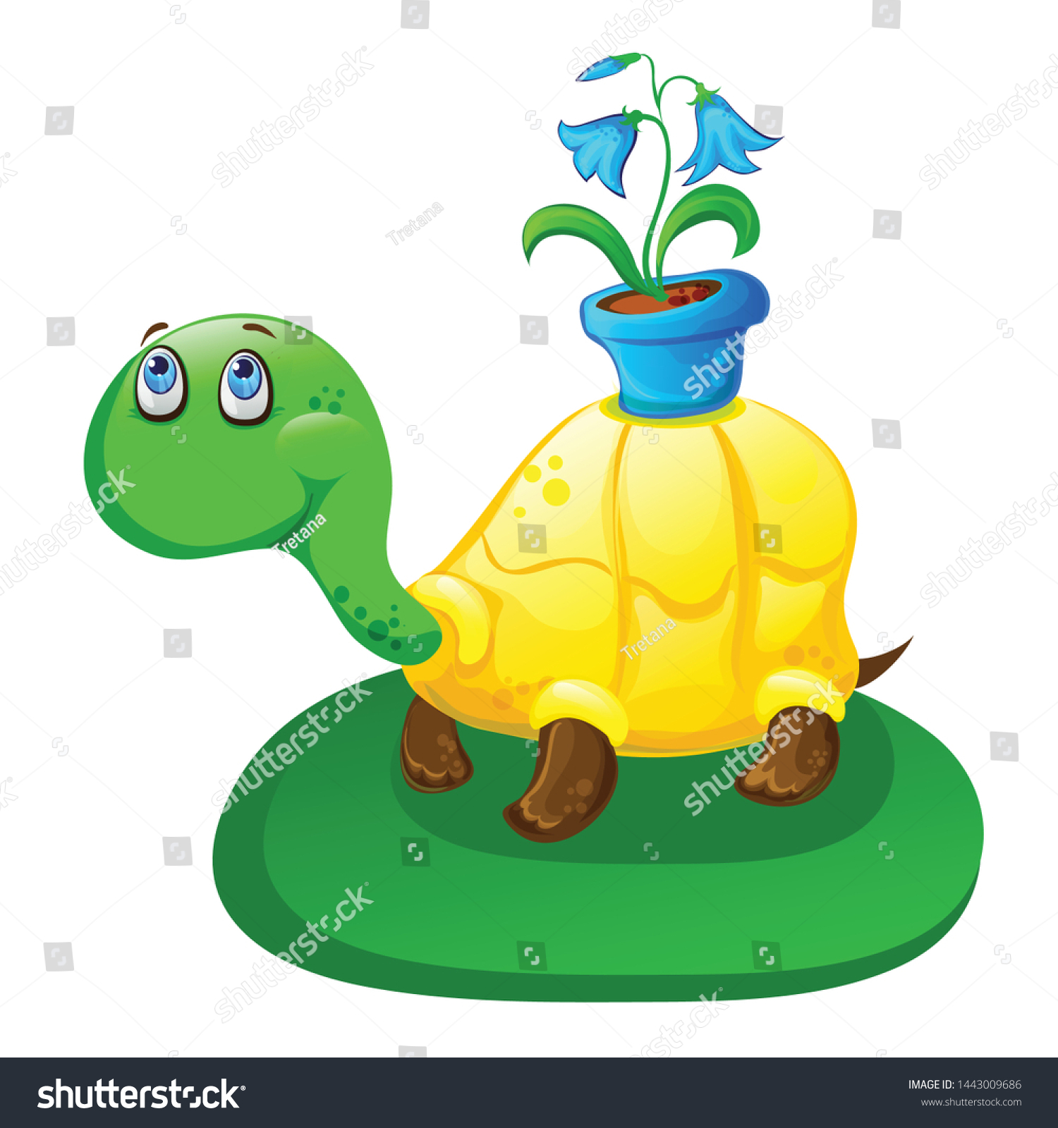 Volumetric Vector Cute Cartoon Turtle Flower Stock Vector Royalty