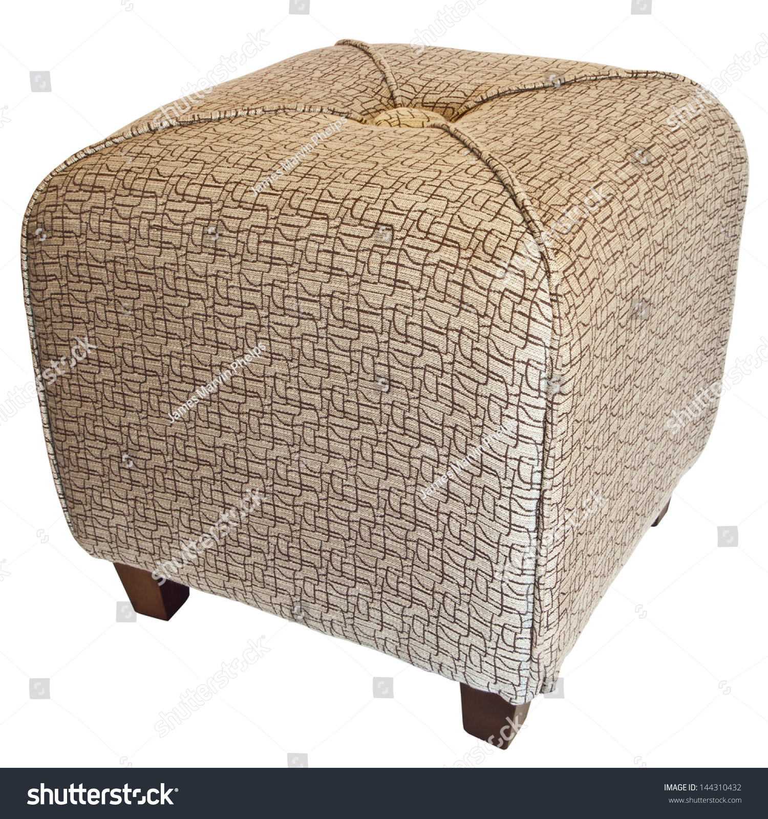 Upholstered cube ottoman footrest with wood legs stock