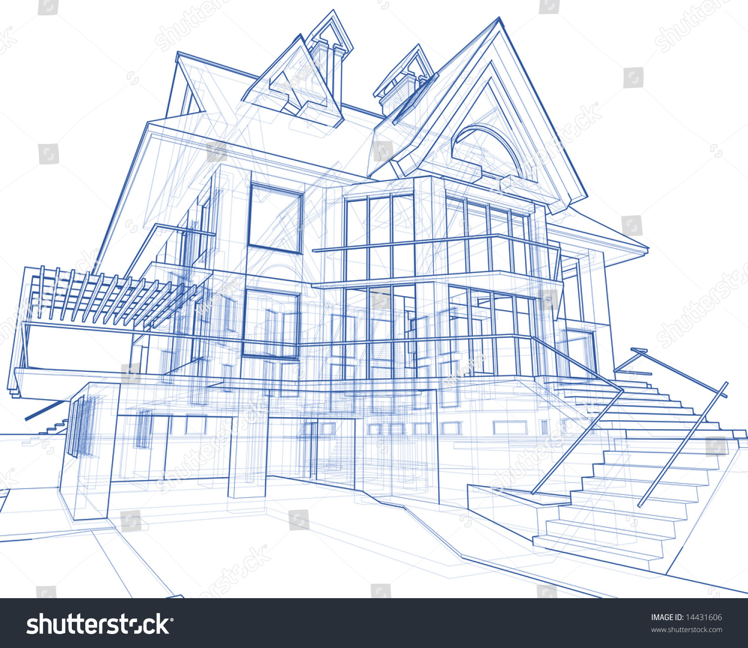 Architecture Blueprint House Technical Draw Stock