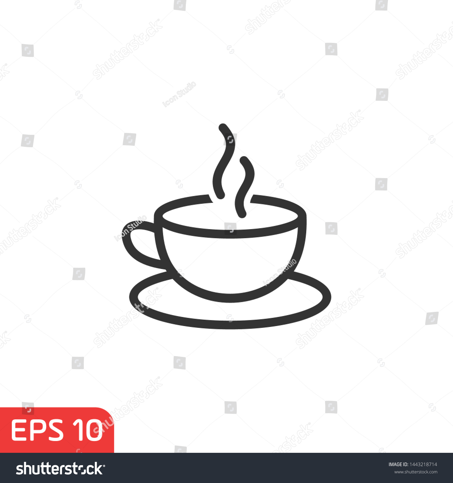 Cup Coffee Icon Template Black Color Stock Vector Royalty Free 1443218714