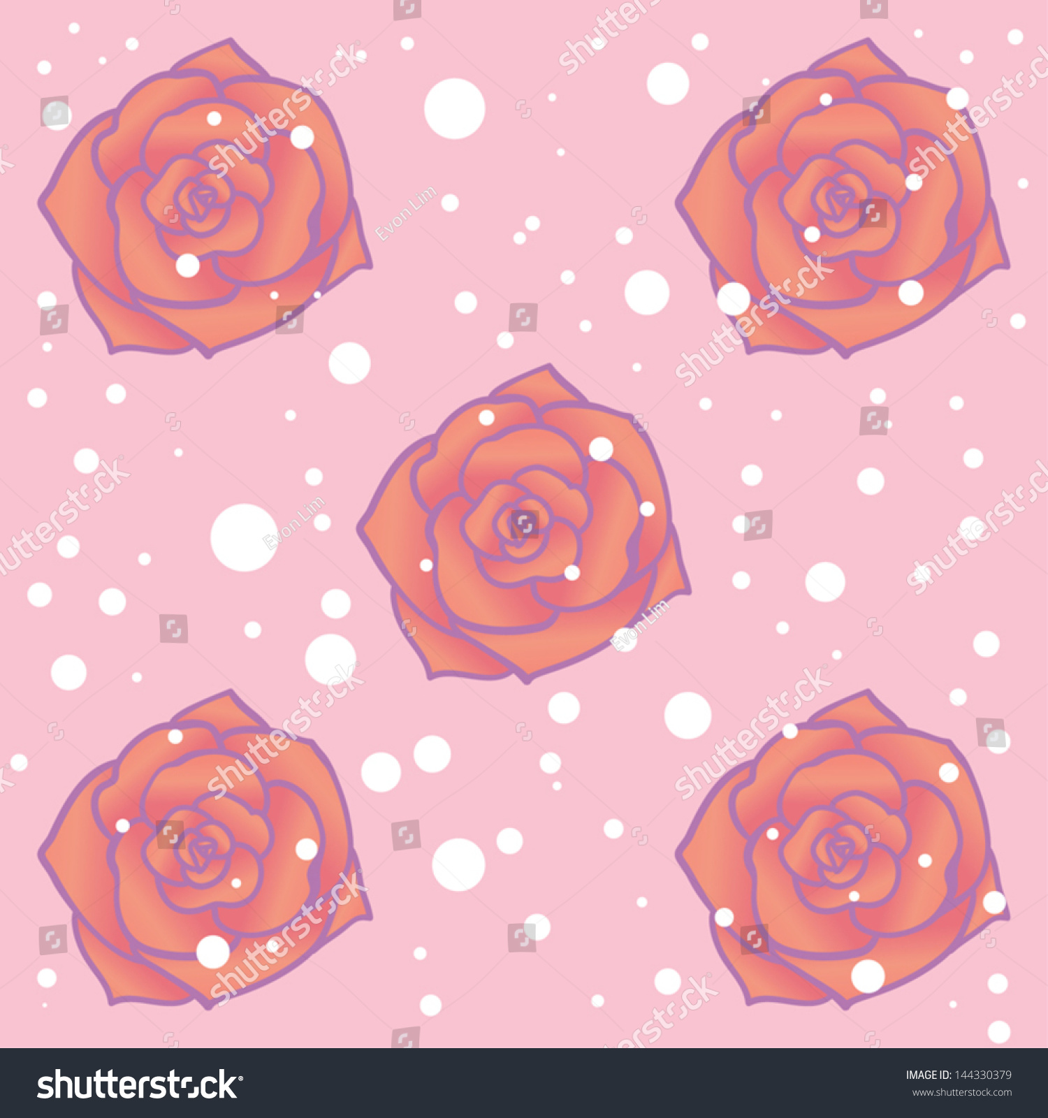 cartoon vector drawing red orange rose stock vector 144330379
