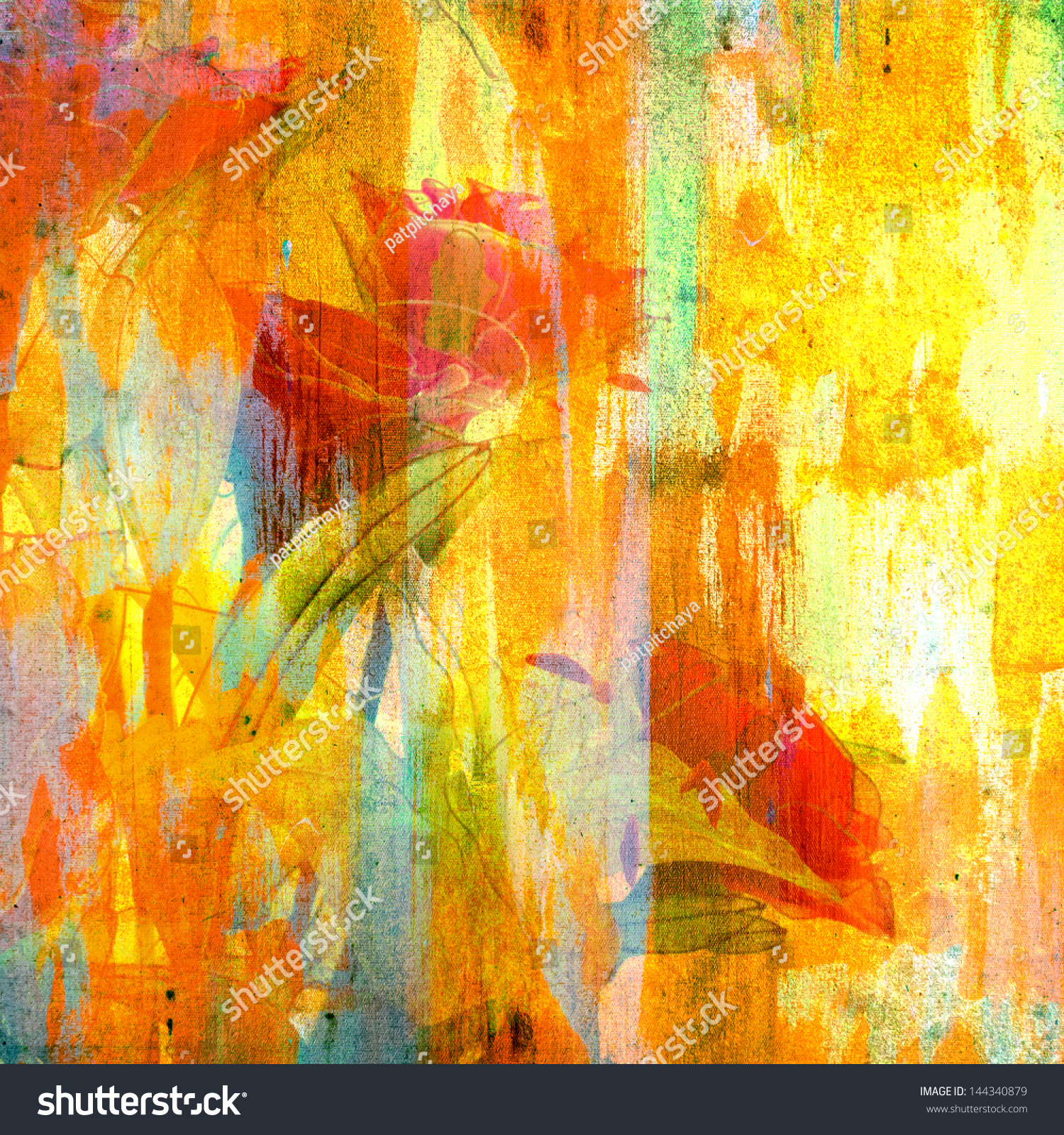 Grunge Colorful Painting With Artificial Rose On Canvas Texture