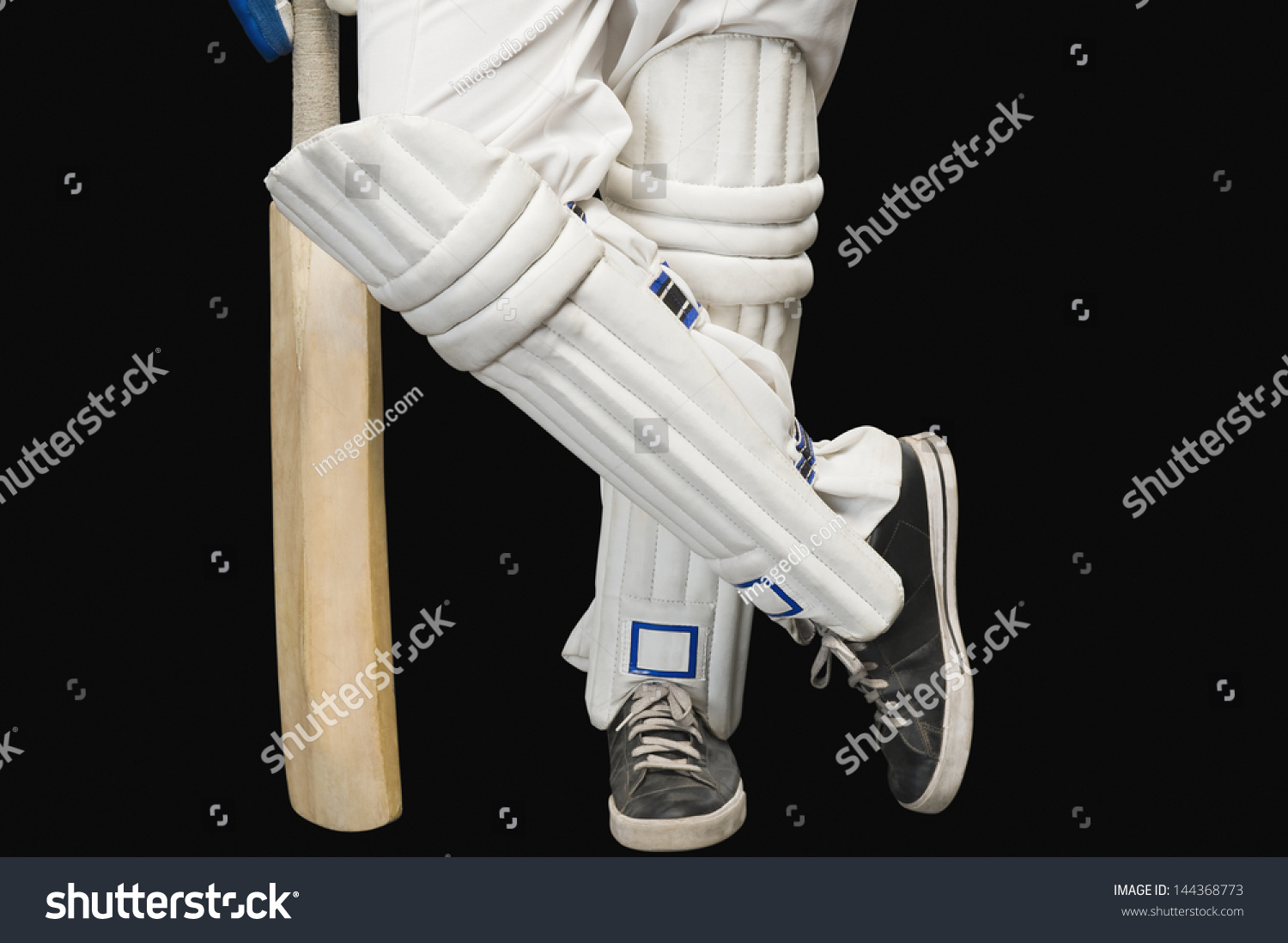 8a085c13e77 Low Section View Cricket Batsman Standing Stock Photo (Edit Now ...