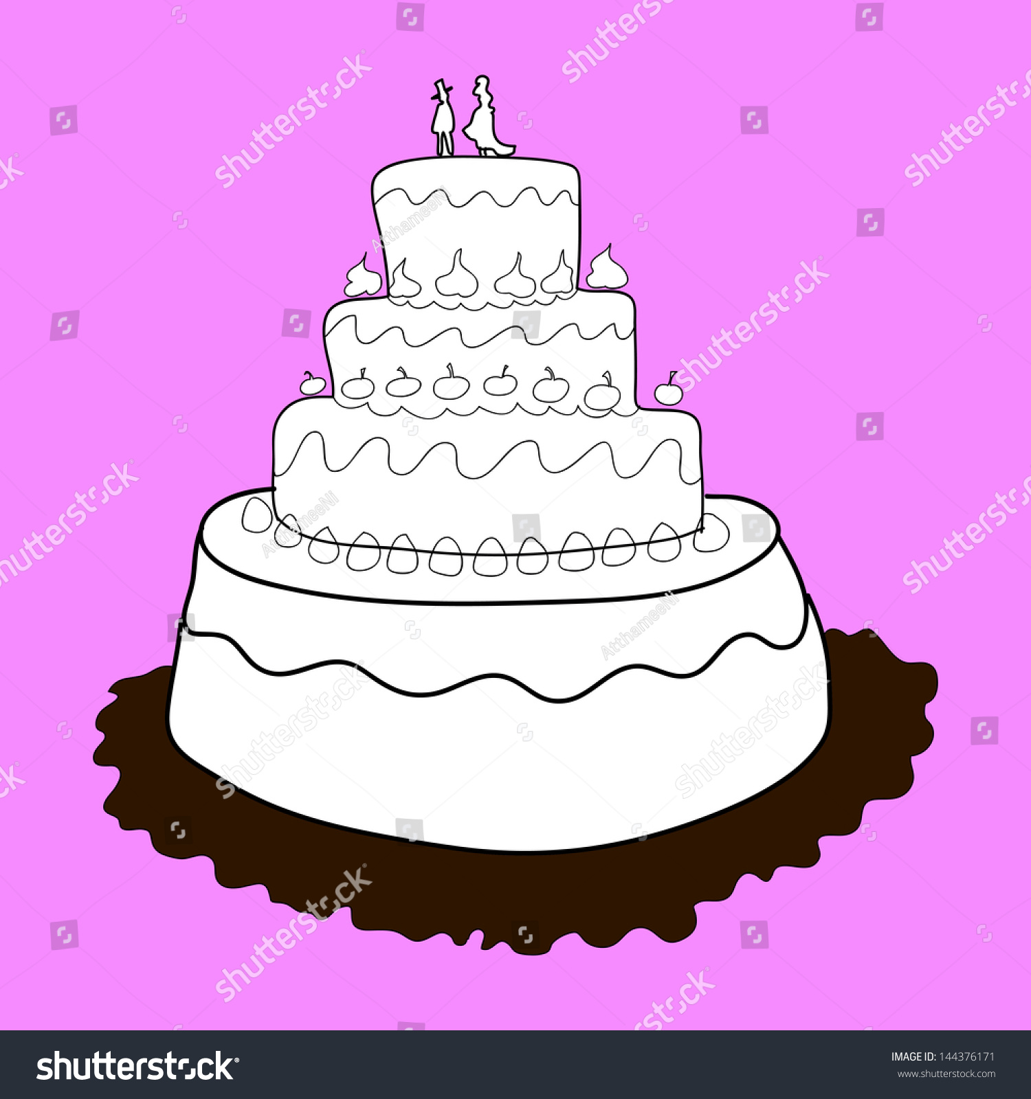 Wedding Cake Images Cartoon : Wedding Cake Cartoon Handdrawn Illustration Stock Vector ...