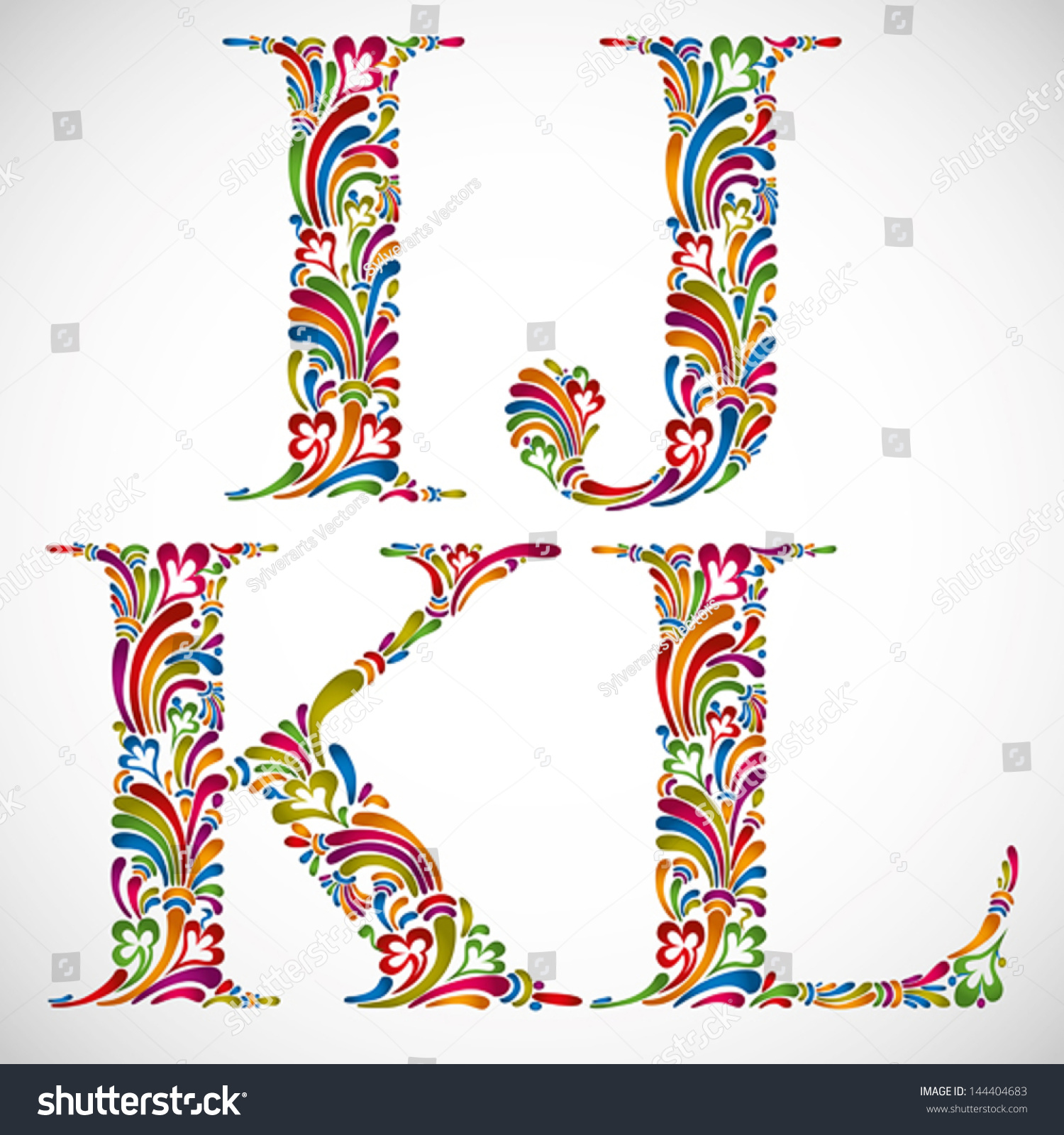 Colorful Floral Font Ornate Alphabet Letters Stock Vector