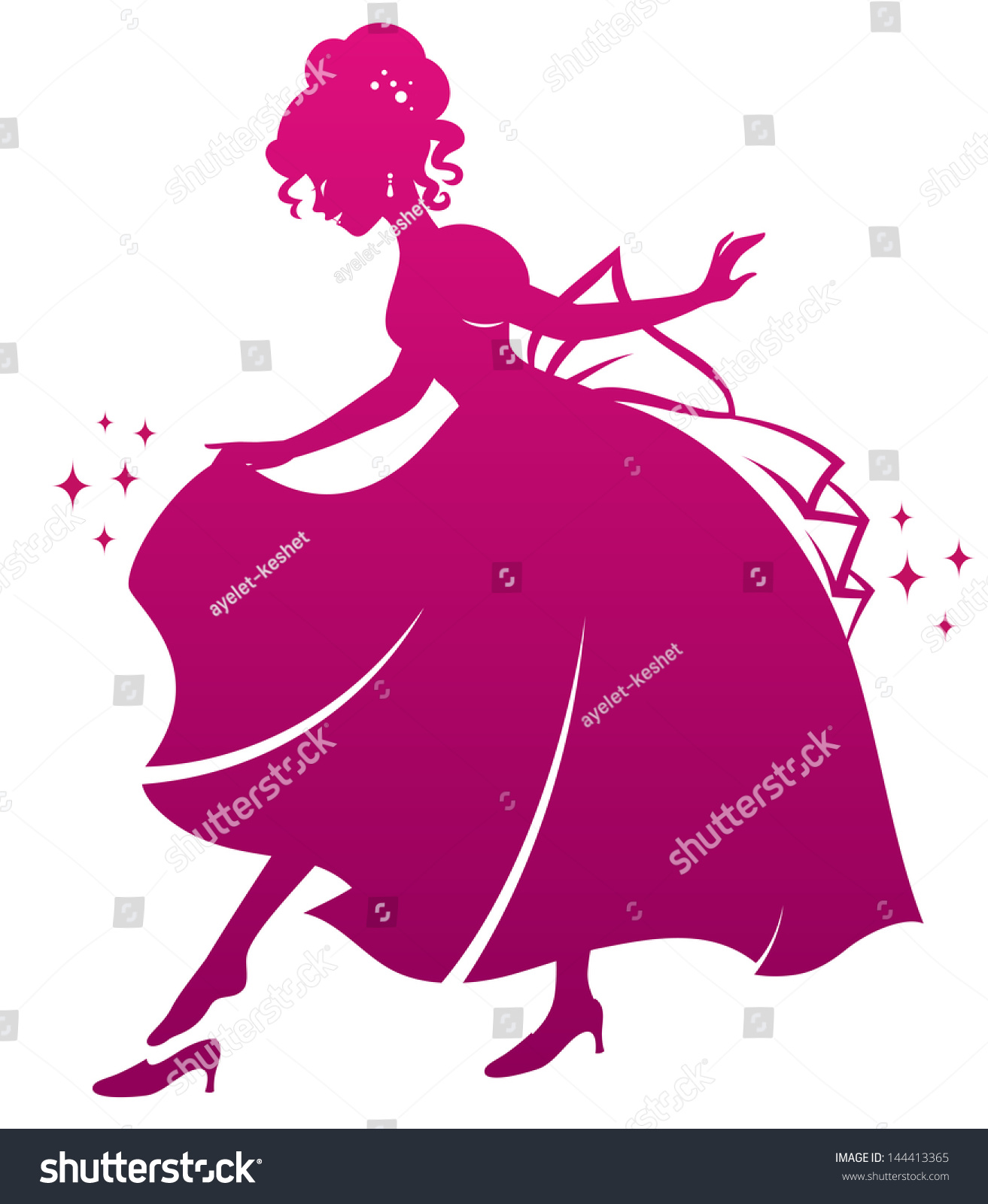 silhouette of cinderella wearing her glass slipper vector available in my gallery
