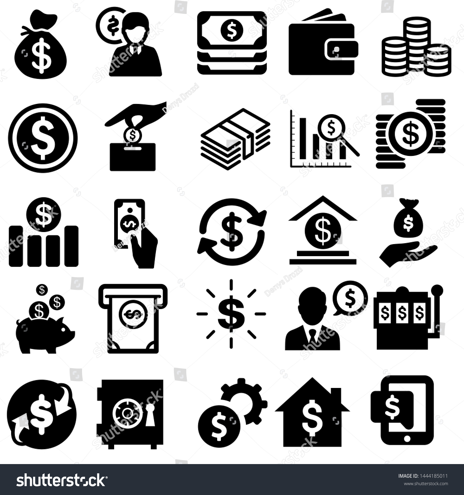 Money vector icons set. Bank card illustration. Dollar collection.