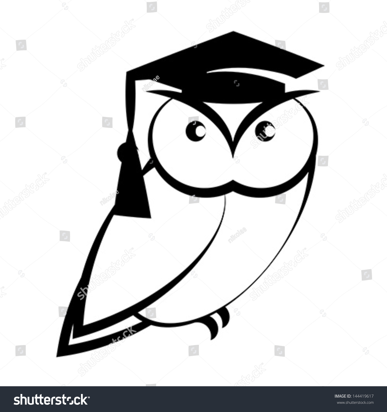 Owl Graduation Hat Symbol Wisdom Isolated Stock Vector Royalty Free