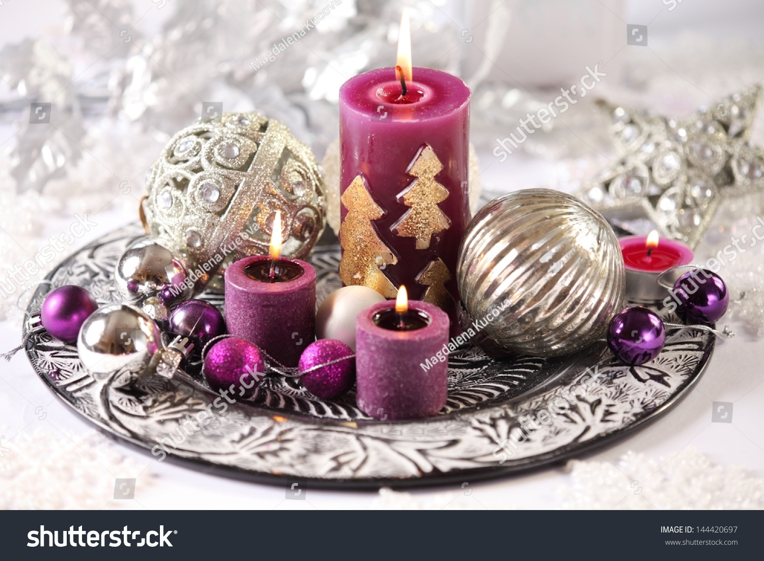 silver and purple christmas decorations