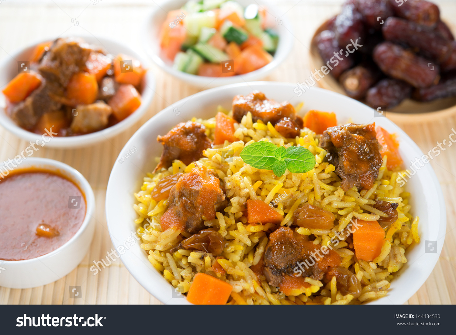 Arab rice ramadan food middle eastern stock photo for Algerie cuisine ramadan