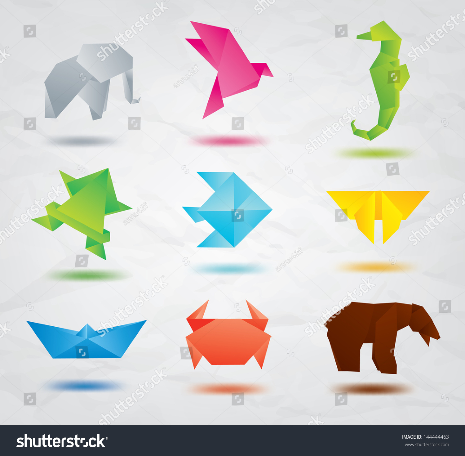 Set Origami Animals Symbols Elephant Bird Stock Vector ... - photo#45