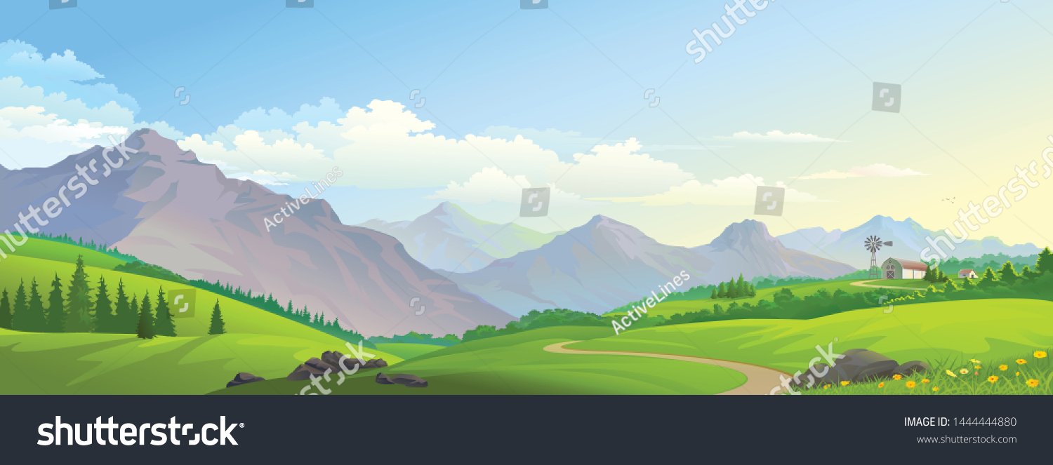 A distant barn on the lush green meadows with mountains and a road #1444444880