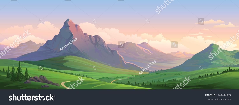 Evening orange mountains of the European alps