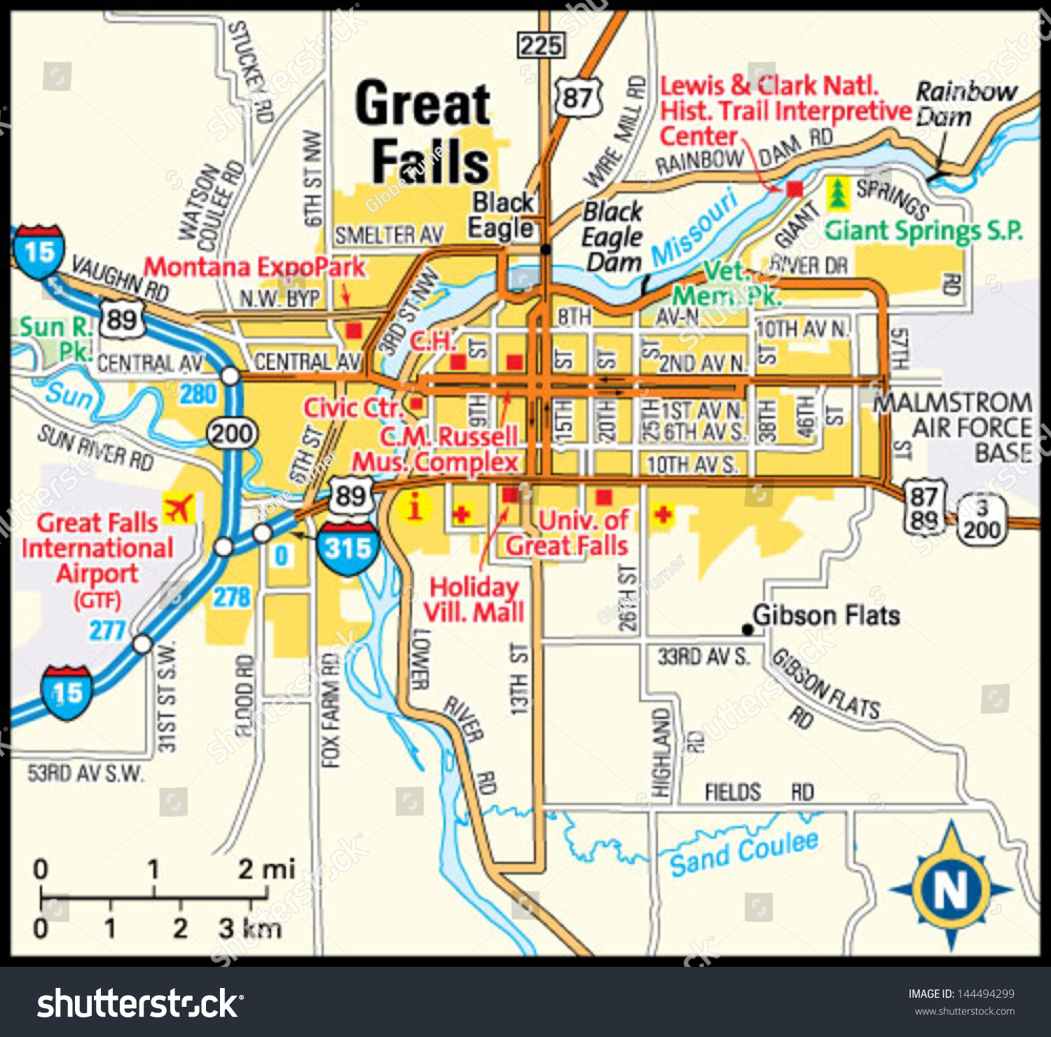 Great Falls Montana Area Map Stock Vector (Royalty Free) 144494299