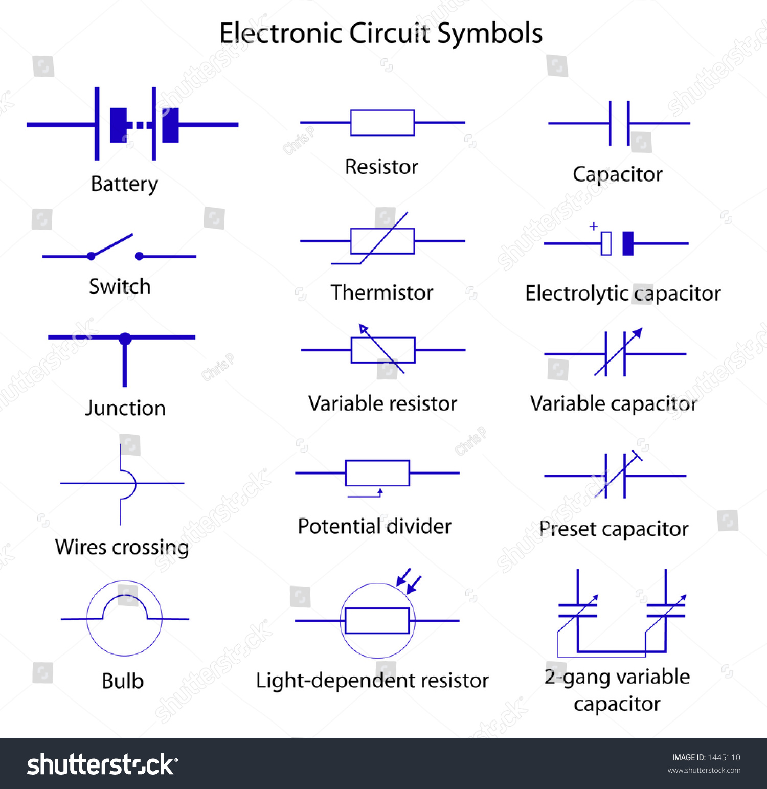 electronic circuit symbols stock vector 1445110 shutterstock. Black Bedroom Furniture Sets. Home Design Ideas