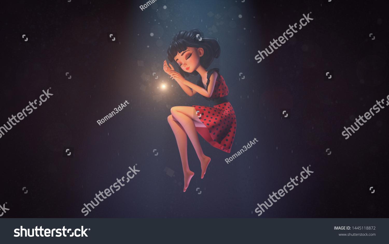 3D Asian Girl 3d illustration asian girl sleeping air stock illustration