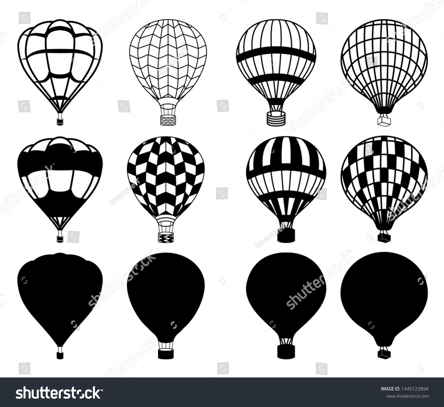 Hot Air Balloon Vector Illustration Silhouette Stock Vector Royalty Free 1445123894