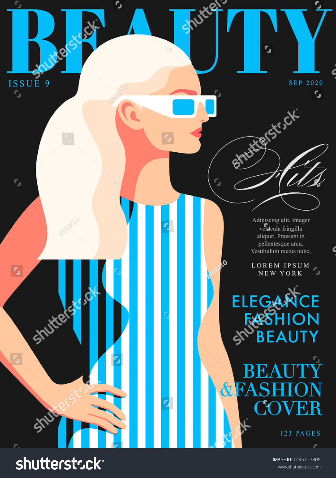 Woman Fashion Magazine Cover Design Blonde Stock Vector Royalty Free 1445127305