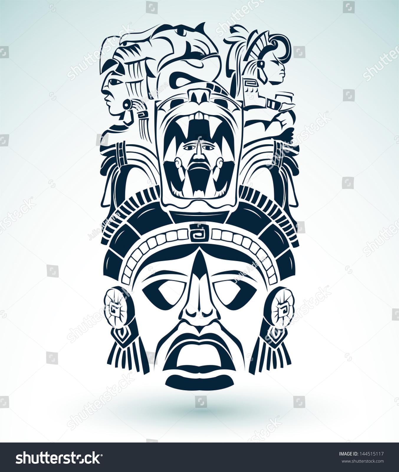 vector mask mexican mayan aztec motifs symbol